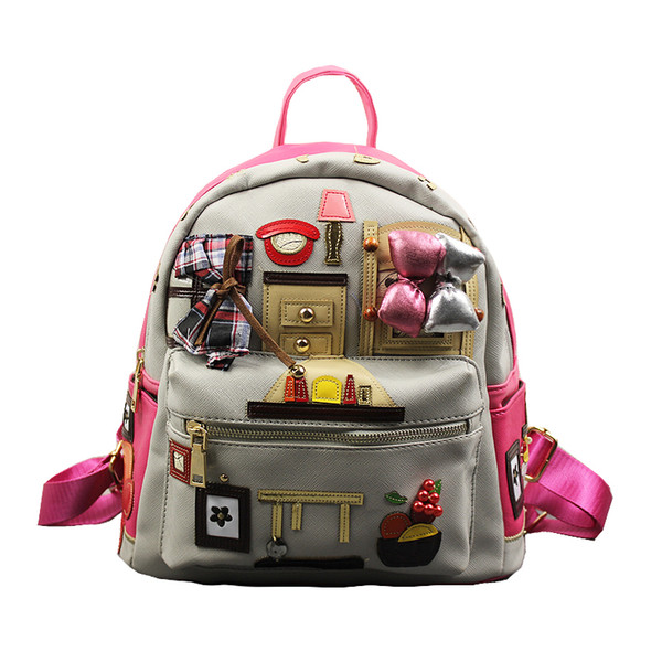 2017 Leather Backpacks for Teenage Girls Korean School Backpack Stylish Handmade Limited Satchel High Quality School Bags
