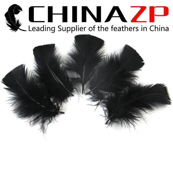 Gold Manufacturer CHINAZP Crafts Factory 500 pieces per lot Top Quality Natural Black Turkey Body Feathers for Clothes Decorations