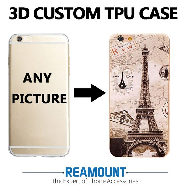 3D Relief Personalized Custom Design DIY Silicone Case for huawei 8 Lite for iphone 7 Customized Transparent Cell Cover