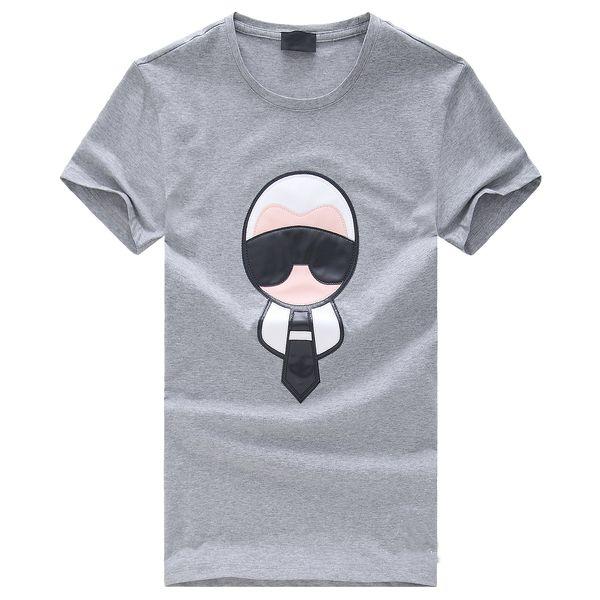 De calidad superior de algodón de manga corta Cartón Applique Casual Cool Men Skateboard T Shirt 2017 camisas para hombres y mujeres de moda camiseta