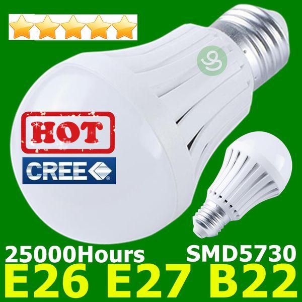 top popular LED Bulbs B22 E27 Globe Light Bulb 110V 220V 7W 9W 12W Super Bright CREE LED Lamp Wholesale FREE SHIPPING 2020