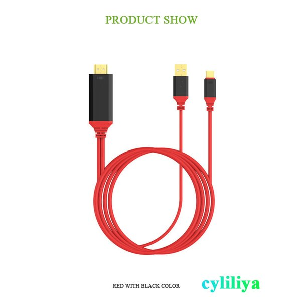 2 in 1 USB Type C to HDMI Connector 4K*2K 3D 1080P HDTV Adapter Cable 3.1 For TV phone MacBook / Chromebook S8