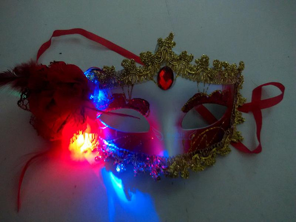 Cheap shipping luminous feather masks Bar Masquerade Mask Halloween Mask Party Toys wholesale
