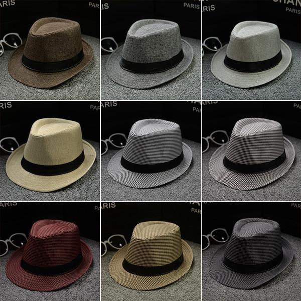 best selling Vogue Men Women Cotton Linen Straw Hats Soft Fedora Panama Hats Outdoor Stingy Brim Caps 28 Colors Choose