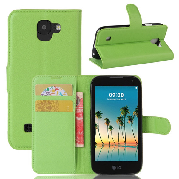 Colorful Litchi Wallet Leather Pouch For LG 2017 K3 K8 K10 LV3 MS210 Aristo ZTE Blade A602 Flip Card Stand Phone Gel Soft Skin Cover 10pcs