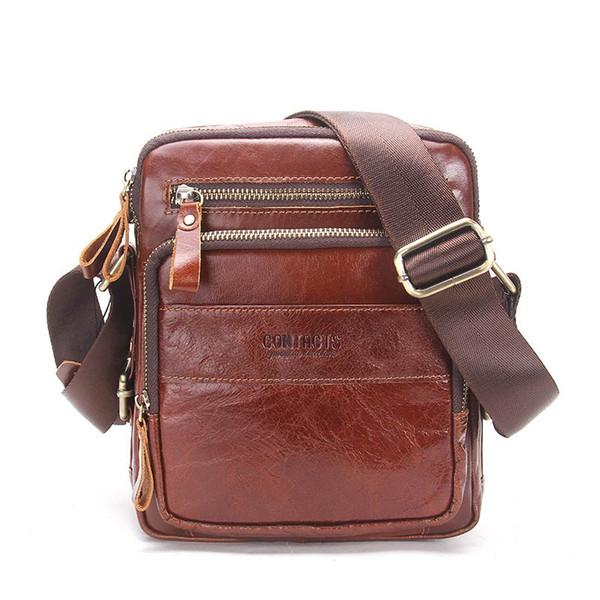 Genuine Cow Leather Men Bags ipad Handbags Male Messenger Bag Man Crossbody Shoulder Bag Men's Travel Bags Hot Sale