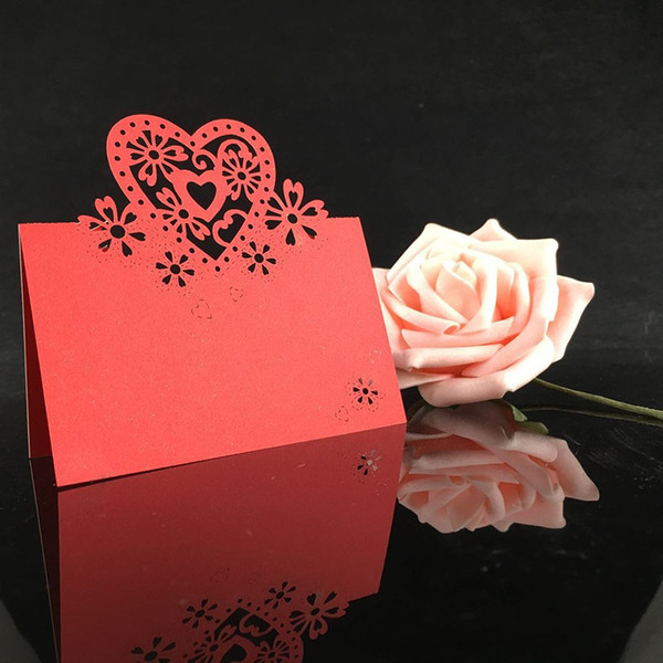 50pcs/lot 2017 new laser cut hollow Love Heart design wedding intation name seat table cards for party supplies