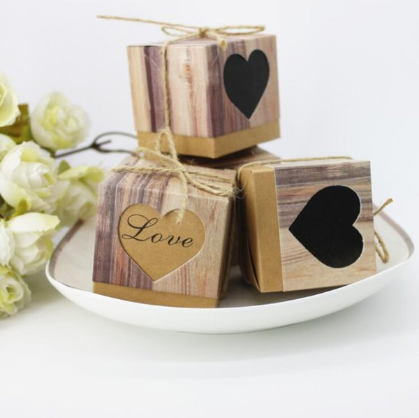 50pcs candy box bag chocolate paper gift box vintage khaki heart for Birthday Wedding Party Decoration craft DIY favor baby shower