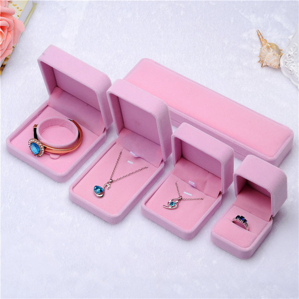 best selling Fashion Jewelry Boxes Pink&Creamy-white Velvet Ring Earrings pendant Necklace bracelet bangle Classic Show Luxury Octagonal Gift Case Box