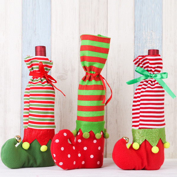 Classic Christmas Clown Shoes Stocking Wine Bottle Cover Bags Christmas Elves Candy Gift Bag Festival Drop shipping Supply XMAS Decorations