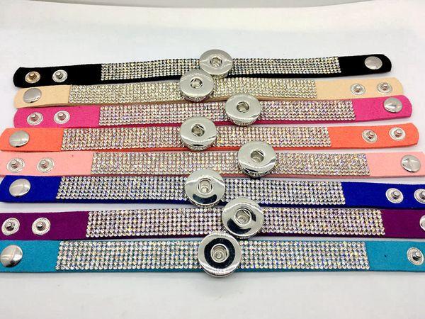 Großhandel Ingwer Snap Armband 8pcs / Lot Mix Style Frauen Fashion Strass Snap Armband Schmuck Fit 18MM Snap Chunk Charm Button