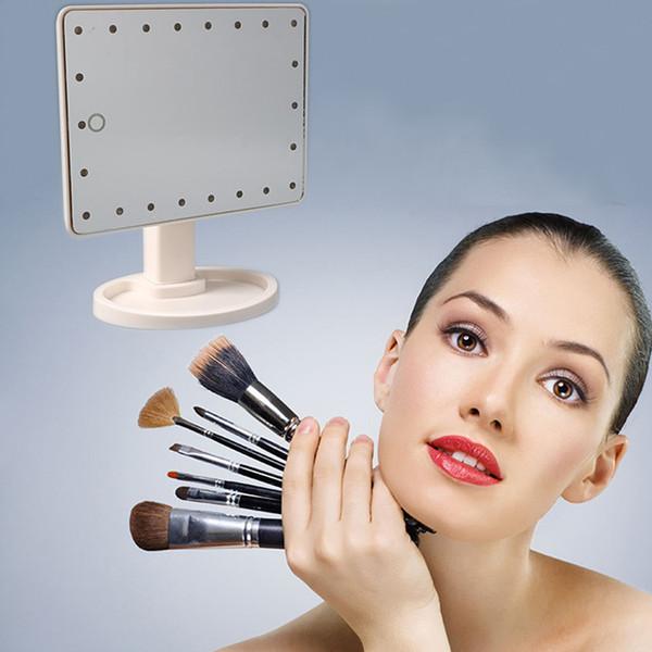 espejos compactos de luz Espejo de maquillaje LED de luz Rotación de 360 grados Pantalla táctil Espejo cosmético Plegado compacto portátil con 16/22 luces LED