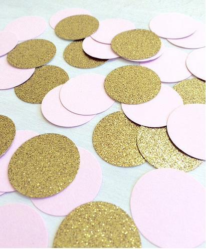 cheap Custom 150pcs glitter Blush Pink & Gold Circle confettis wedding table scatters Christmas bridal shower bachelorette party decorations
