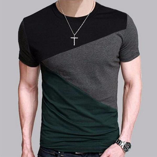 Toptan-Marka 2017 Erkek Kısa Kollu T Gömlek O-Boyun Erkekler T-Shirt Hip-Hop Basit ekleme Tee Üstleri Gömlek Homme T Shirt 3XL DUNV