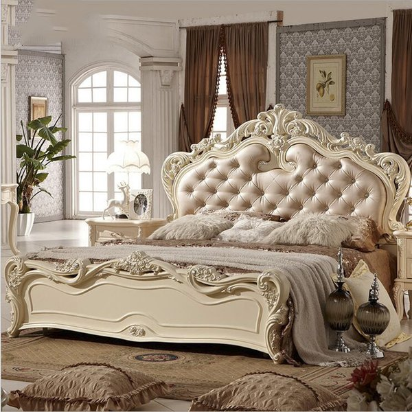 factory price king size leather modern european solid wood bed Fashion Carved bed french bedroom furniture 10145