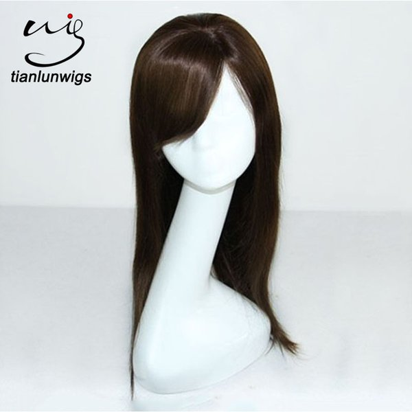 wholesale 16inch #4 straight beautiful silk top brazilian human hair full lace wig cheap lace front hair wig for balck women