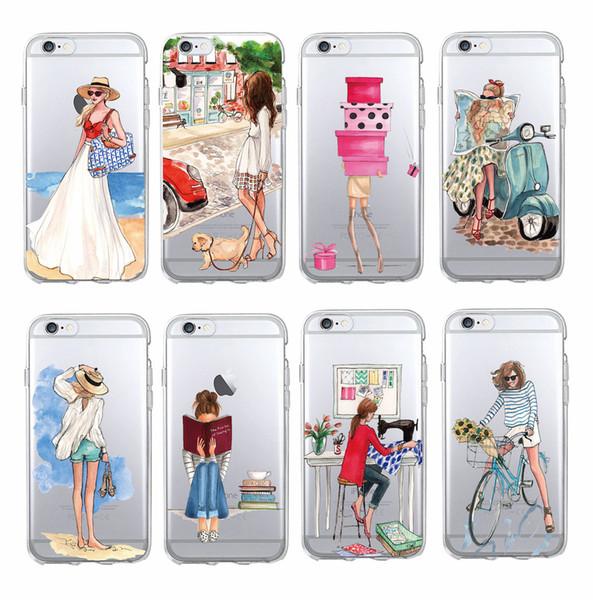 For SAMSUNG GALAXY S5 S6 S7 edge S8 Plus Fashion Classy Paris Girl Summer Legs Travel Relax Beach Macaroon Soft Clear Phone Case