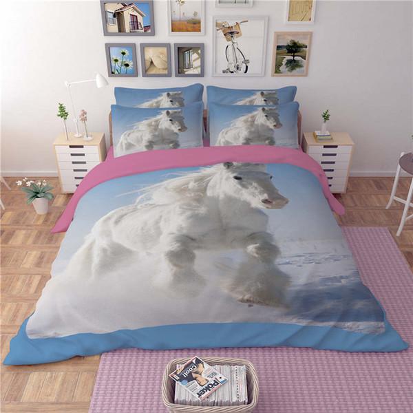 Conjuntos de ropa de cama de la impresión del caballo de Unicom del blanco Tela Algodón Doble Reina King Size Ropa de cama Cubiertas del edredón Conjunto de la funda de edredón Funda de almohada Consolador