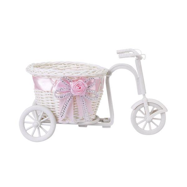 Cesta de flores de triciclo / bicicleta hecha a mano para jarrón de flores y regalo de decoración de almacenamiento