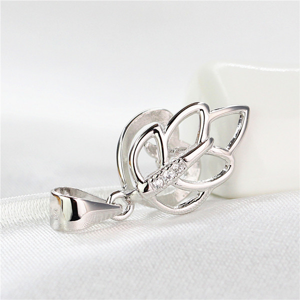 925 Sterling Silver White Gold Color Women Pendant Clasp Semi Mount for Gemstone Fine Jewelry Setting Leaf
