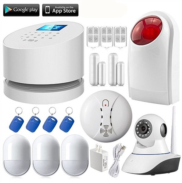 LS111- W2 WiFi GSM PSTN RFID home burglar Security Alarm System+Wireless outdoor strobe siren+HD wifi ip camera+Smoke detector