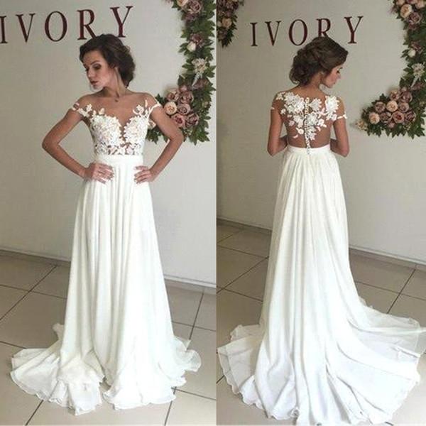 Романтические летние кружевные пляжные свадебные платья с открытой горловиной Шифон Свадебные платья с разрезом Свадебные платья Vestido de Noiva
