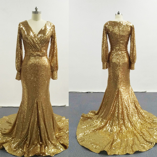 2016 Gold Elegant Evening Dresses V Neckline With Long Sleeves Ruche Court Train Shiny Pageant Dresses ZJ240