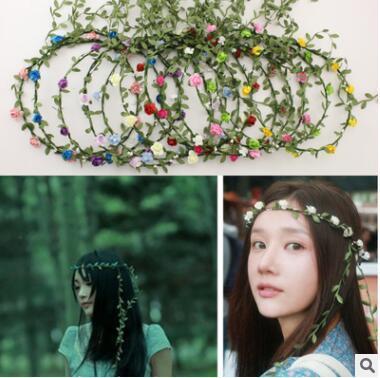 Seyahat Plaj Rattan Yaprakları Renkli Düğün Garlands Nedime Gelin Kafa Çiçek Taç Bohemia Kafa Çiçek Kız Saç Aksesuarı