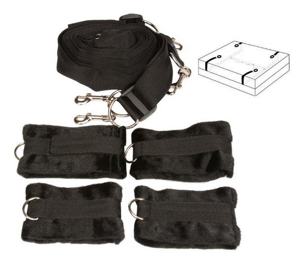 BDSM Bondage Hand Foot Under the Bed Mattress Restraint System w/ Furry Footcuffs Handcuffs Bedroom Sex Toys for Couples 10pcs/lot XLY1145