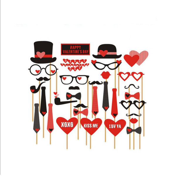 33pcs/set Valentine's Day Date Wedding Photo Booth Props Neck Tie Heart Pipe On A Stick Party Handheld DIY Masks