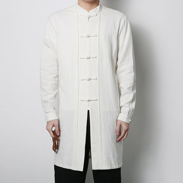 Wholesale- China Style Stand Collar and Button Mens Trench Coat Mens Kung Fu Windbreaker Jacket Male Fashion Casual Trench Jacket