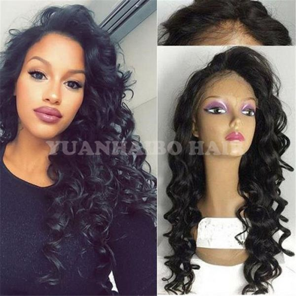 Stock 8A Grade 1B Loose Wave Virgin Brazilian Hair Lace Front Full Lace Human Hair Wigs Free Shipping