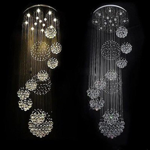 modern item flush mount 12 lights Dia800*H3000MM large modern hotel chandelier crystal staircase light free shipping