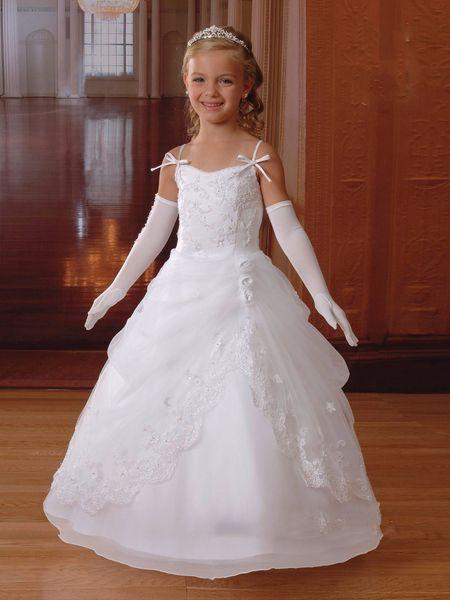 2017 Cheap White Lace Appliques Flower Girls Dresses Spaghetti ...