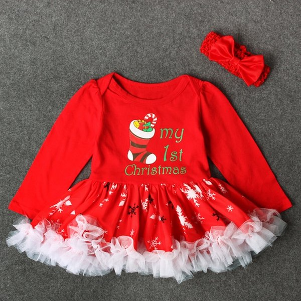 2018 Infant Girls Christmas Puffy Dress Rompers Baby First Xmas Tutu