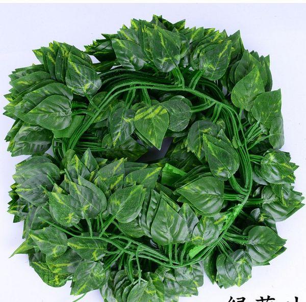 Rattan simülasyon 2 M uzun 80 yaprak simülasyon çiçekler yeşil yapraklar dekore üzüm sarmaşık kaplan üzüm yaprakları dökmeyen 12 adet