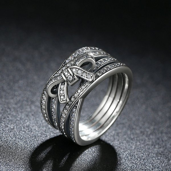 Delicate Women Fashion 925 Silver White Sapphire BOW KNOT Ring Wedding Jewelry