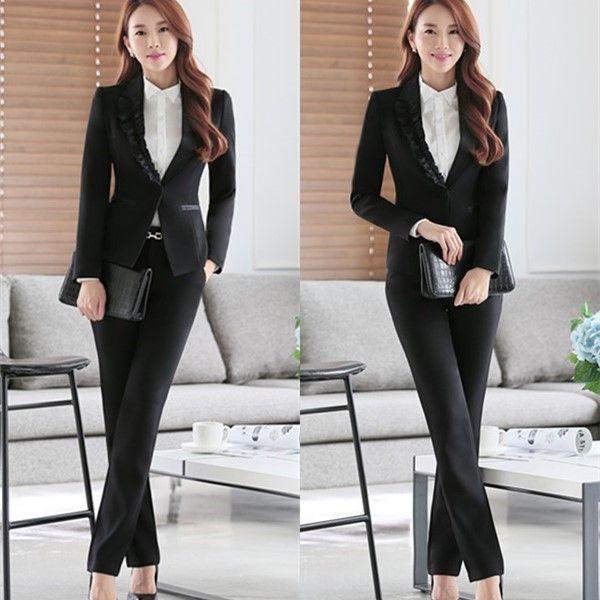 2018 2017 new korean fashion office uniform designs women ruffles