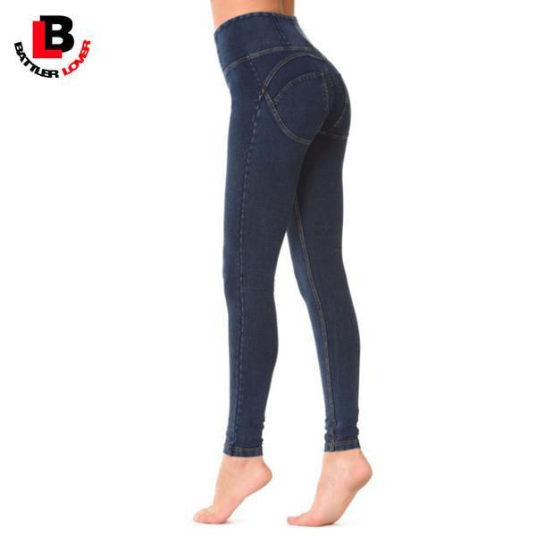 c191a693a20 Wholesale- Boyfriend High Waist Jeans Women Sexy Skinny Push Up Pencil Pant  Blue Denim Trouser Pantalon Mujer Elastic Pants Jegging Stretch