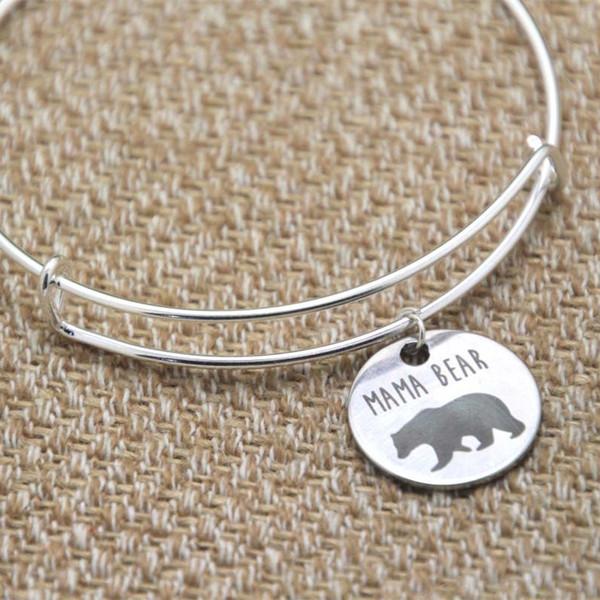 Mama Bär Charm Armband Armreifen Silber Ton Muttertag Geschenk Weihnachtsgeschenk