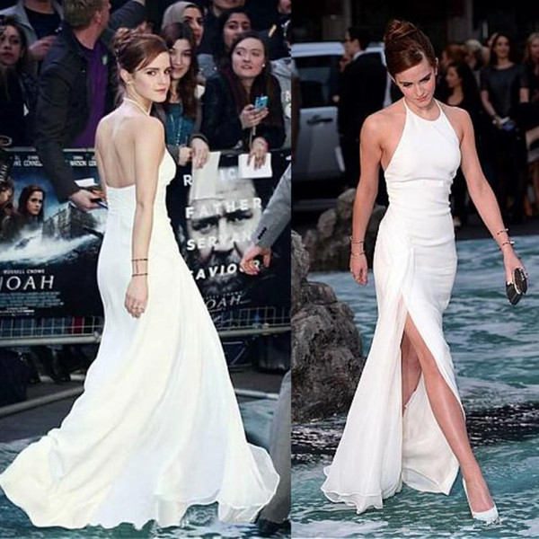 Großhandel Promi Emma Watson Prom Kleider Halfter Chiffon Langen ...