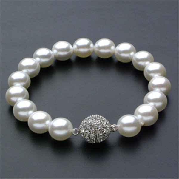 Moda 10mm Genuine Akoya White shell Pearl Bracelet 7.5