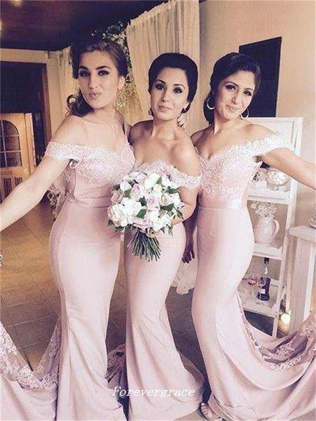 Blush sirena rosa Vestido largo de dama de honor Elegante encaje fuera del hombro Vestido de fiesta de boda invitado de Maid of Honor Plus Tamaño