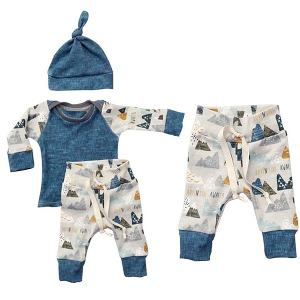 2017 Newborn 3pcs Clothing Sets Spring Autumn Baby girl boy long sleeve shirt+trousers+hat Casual outfit Size70-100 cute suit