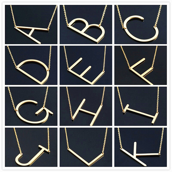 Women Fashion Sideways Personalized A-Z Letter Name Initial Gold Silver Plated Stainless Steel Necklace Pendant For Women Best Gift