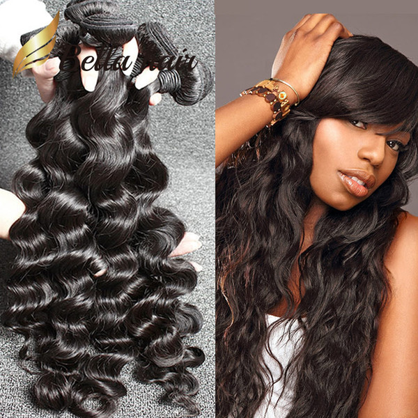 top popular Bella Hair® Brazilian Hair Extensions Unprocessed Indian Human Hair Bundles Dyeable Black Color Hair Weave 4pcs lot 8A Loose Deep Wave 2019