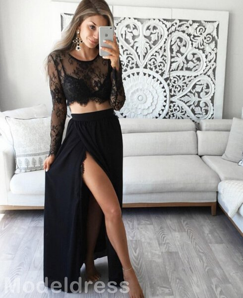 2017 Sexy Two Pieces Split Prom Dresses Long Sleeves Lace Top A Line Long Modest Black Evening Party Special Occasion Gowns Cheap 2016