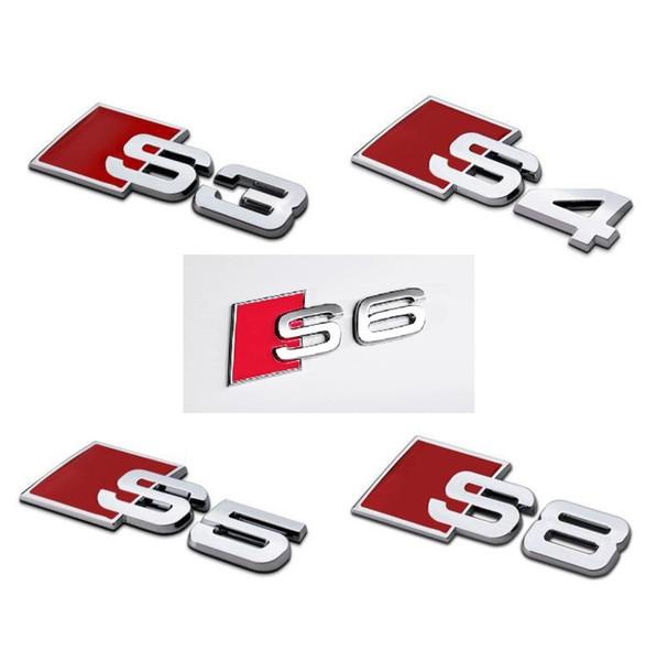 3D Alliage D'aluminium S3 S4 S5 S6 S8 S Line Voiture Autocollant Emblème Badge Logo En Métal Arrière Queue Badge Autocollant Logo Pour Audi Car Emblem