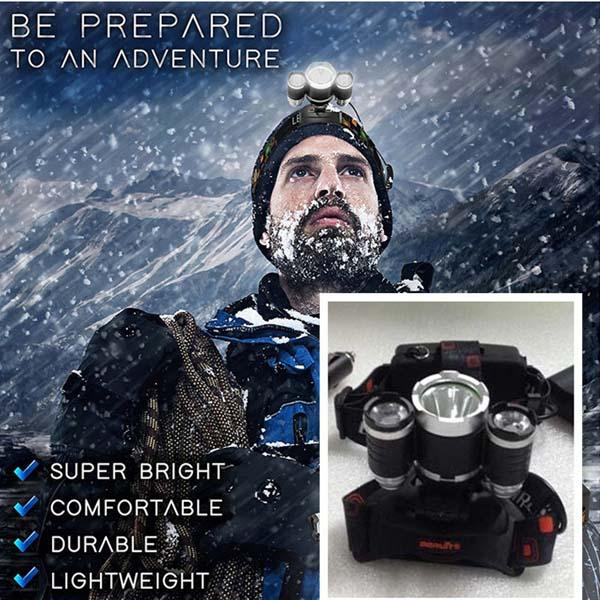 5000LM LED Headlight 3X CREE XML T6 Flashlight Torch Lamp 4 Mode Head Lamp + AC Charger For Bicycle Bike Light Outdoor Sport 10SETS