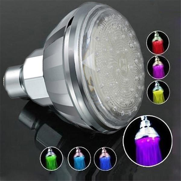 360 градусов Регулируемая Romantic Контроль температуры Светодиодные воды насадка для душа Свет кран Поток свет 3 цветный светодиодный свет насадка для душа